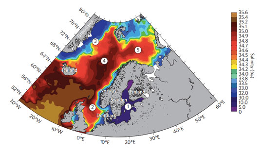 The Nordic seas: 1, Baltic Sea; 2, North Sea; 3, Greenland Sea; 4, Norwegian Sea; 5, Barents Sea. Mean surface salinity 1980-present. Salinity gradients are projected to become steeper in future, making these seas more sensitive to environmental change.